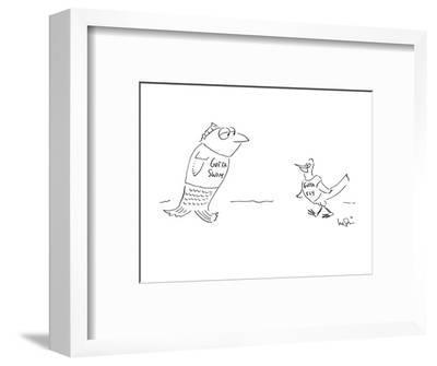 "Fish wearing T-shirt that says ""Gotta Swim"" meets bird wearing T-shirt tha? - New Yorker Cartoon-Arnie Levin-Framed Premium Giclee Print"