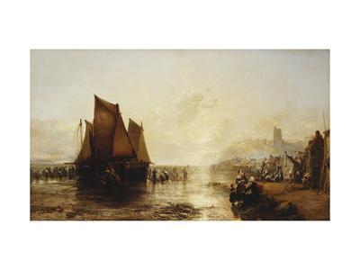 Fisherfolk Landing their Catch on Folkestone Beach-James Webb-Giclee Print