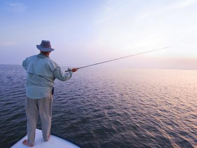 Fisherman Casts for Redfish at Laguna Madre on the Texas Gulf Coast-James Forte-Photographic Print