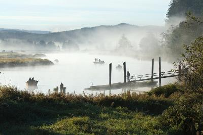 Fisherman Enjoy a Beautiful Foggy Morning Fishing-Vickie Lewis-Photographic Print