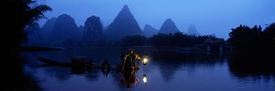 Fisherman Fishing at Night, Li River , China--Photographic Print