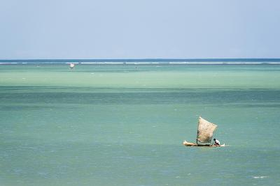 Fisherman Fishing from a Pirogue, a Traditional Madagascar Sailing Boat, Ifaty, Madagascar, Africa-Matthew Williams-Ellis-Photographic Print
