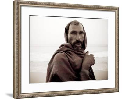 Fisherman Having Morning Smoke on Shore-April Maciborka-Framed Photographic Print