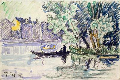 Fisherman in a Boat Near a Bank of the Seine, C1900-Paul Signac-Giclee Print