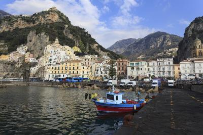 Fisherman in Fishing Boat and Amalfi Town, Costiera Amalfitana (Amalfi Coast), Campania, Italy-Eleanor Scriven-Photographic Print