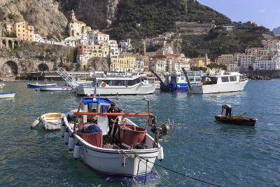 Fisherman in Fishing Boat in Amalfi Harbour-Eleanor Scriven-Photographic Print