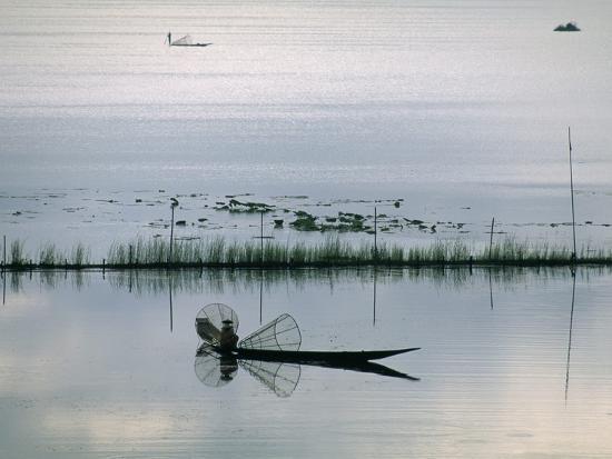 Fisherman, Inle Lake, Shan State, Myanmar (Burma), Asia-Sergio Pitamitz-Photographic Print