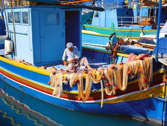 Fisherman Knotting a Fishing Net, Marsaxlokk, Malta, Mediterranean, Europe-Sakis Papadopoulos-Photographic Print