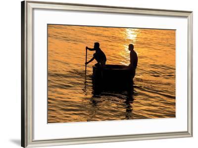Fisherman Landing the Night Catch. Vietnam, Indochina-Tom Norring-Framed Photographic Print