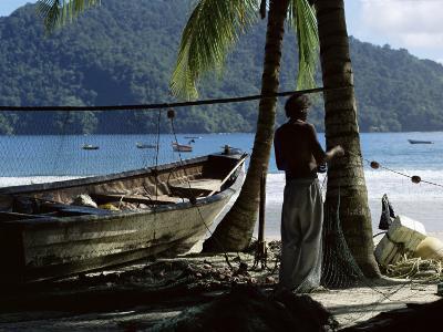 Fisherman, Maracas Bay, Northern Coast, Trinidad, West Indies, Central America-Aaron McCoy-Photographic Print