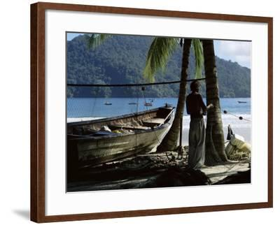 Fisherman, Maracas Bay, Northern Coast, Trinidad, West Indies, Central America-Aaron McCoy-Framed Photographic Print