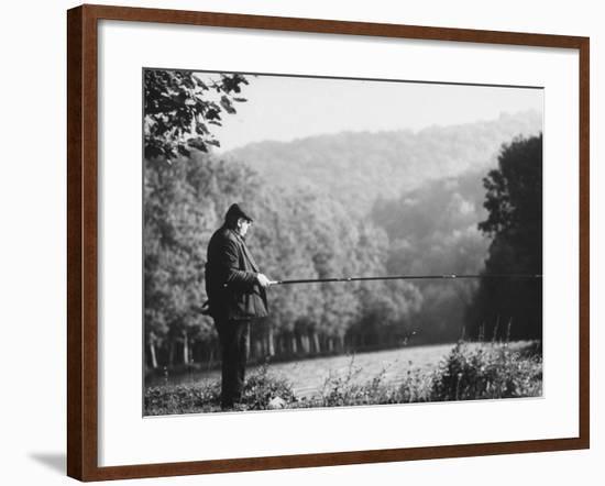 Fisherman on Banks of European Waterway-Pierre Boulat-Framed Photographic Print