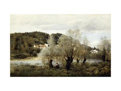 Fisherman on the Edge of a Pond in the Village of Avary-Jean-Baptiste-Camille Corot-Giclee Print