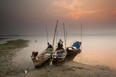 Fisherman Prepare to Set Out, Irrawaddy River, Myanmar (Burma), Asia-Colin Brynn-Photographic Print