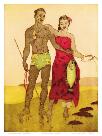 Fisherman, Royal Hawaiian Hotel Menu Cover c.1950s-John Kelly-Art Print