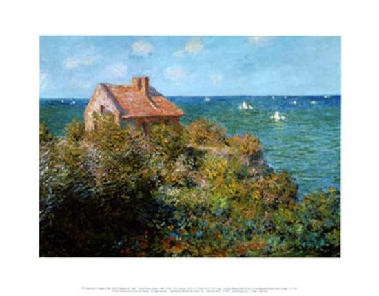 Fisherman's Cottage on the Cliffs at Var-Claude Monet-Art Print
