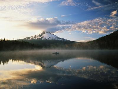 Fisherman, Trillium Lake, Mt Hood National Forest, Mt Hood Wilderness Area, Oregon, USA-Adam Jones-Photographic Print