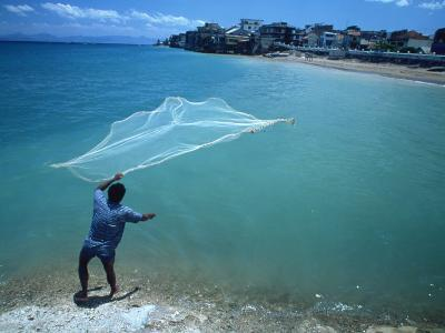 Fisherman with Net, Kupang, Timor, Southeast Asia-Robert Francis-Photographic Print