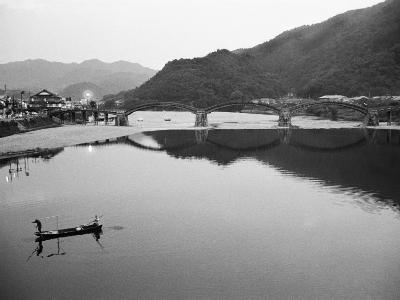 Fishermen and Historic Bridge, Iwakuni, Japan-Walter Bibikow-Photographic Print