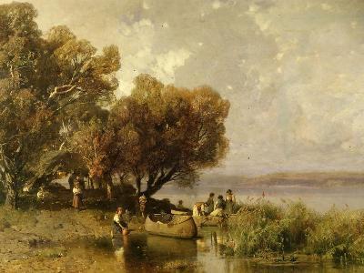 Fishermen at Lake Balaton-Geza Meszoly-Giclee Print
