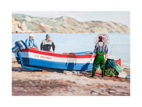 Fishermen at Nerja, Spain-Anthony Fandino-Giclee Print