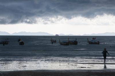 Fishermen Coming in as an Afternoon Storm Approaches Railay Beach-Erika Skogg-Photographic Print