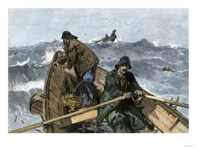 Fishermen in a Dory on the Grand Banks Off Newfoundland, c.1880--Giclee Print