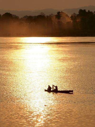 Fishermen in the Mekong River in Laos-Barbara Walton-Photographic Print