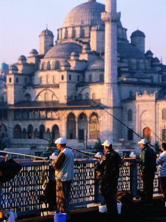 Fishermen on Galata Bridge with Mosque in Background, Istanbul, Turkey-John Elk III-Photographic Print