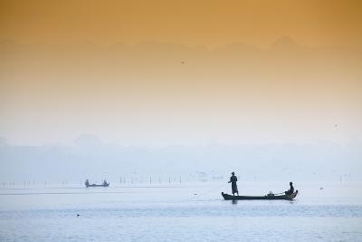 Fishermen on Taungthaman Lake Near Amarapura, Mandalay, Myanmar (Burma), Southeast Asia-Alex Robinson-Photographic Print
