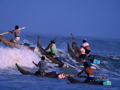 Fishermen Paddle Their Cabillitos De Totora Reed Boats Out Through Waves, Pimentel, Peru-Paul Kennedy-Photographic Print