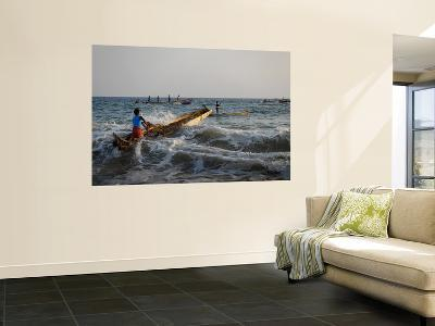 Fishermen Paddling their Vessels Out from Kollam Beach, Heading Out for Night Shift-Felix Hug-Wall Mural
