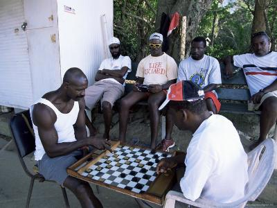 Fishermen Playing Checkers, Charlotteville, Tobago, West Indies, Caribbean, Central America-Yadid Levy-Photographic Print