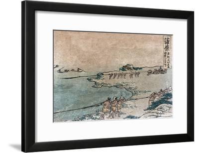 Fishermen Pulling Ashore Fish Nets, Japanese Wood-Cut Print-Lantern Press-Framed Art Print