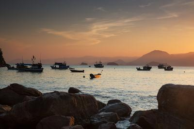 Fishermen's Boats Float Off the Coast of Praia Da Picinguaba, Ubatuba, Brazil-Alex Saberi-Photographic Print