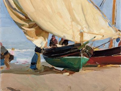 Fishermen, Stranded Boats, Valencia; Pescadores, Barcas Varadas, Valencia-Joaquin Sorolla y Bastida-Giclee Print