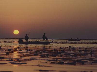 Fishermen Take in the First Rays of the Rising Sun on Lake Okeechobee-Nicole Duplaix-Photographic Print