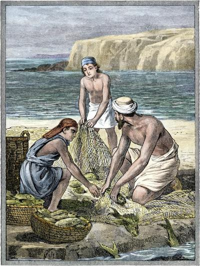Fishermen with Nets Along the Sea of Galilee, Ancient Palestine--Giclee Print