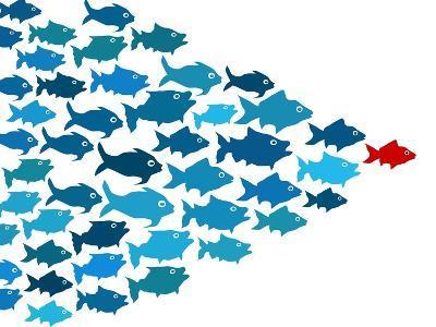 Fishes In Group Leadership Concept-mypokcik-Art Print