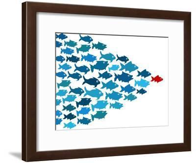Fishes In Group Leadership Concept-mypokcik-Framed Art Print