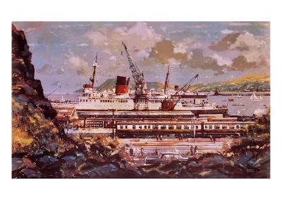 Fishguard Harbour Scene-John S^ Smith-Giclee Print