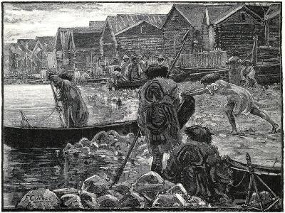 Fishing Among the Thlinkits in Alaska, 1882-J Whitney-Giclee Print