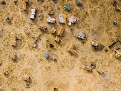 Fishing and Cattle Camp on the Dry Bed of Lake Mtera, Tanzania-Michael Fay-Photographic Print