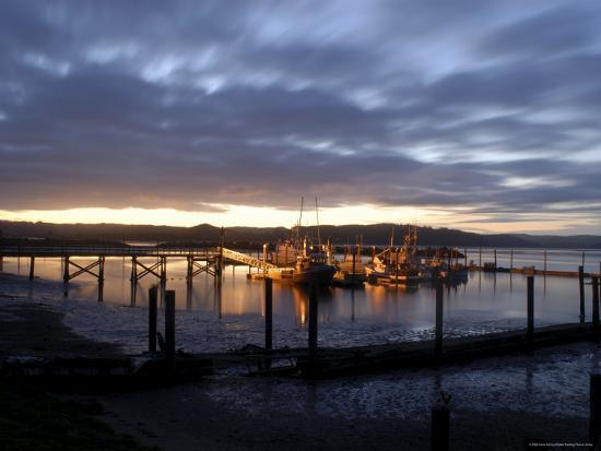 Fishing and Crabbing Boats at Low Tide after Sunset, in Dock at the End of the Road in Grayland-Aaron McCoy-Photographic Print