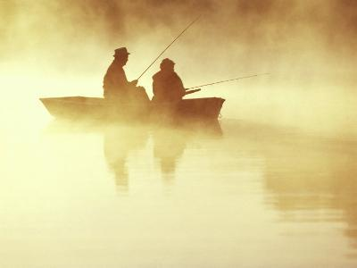 Fishing at Sunrise--Photographic Print