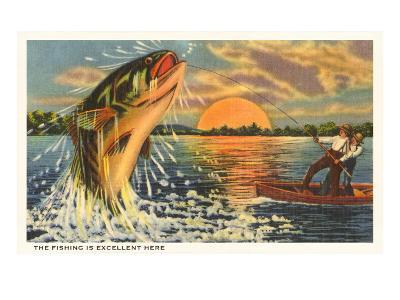 Fishing at Sunset--Art Print