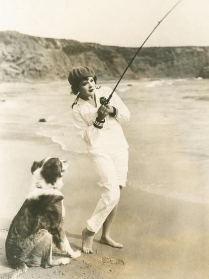Fishing at the Beach with Her Dog--Photo