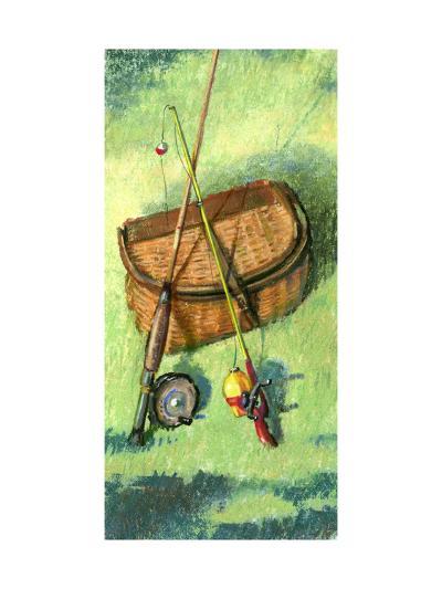 Fishing Basket and Rods--Art Print