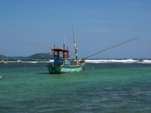 Fishing boat at anchor, Matara, Southern Province, Sri Lanka