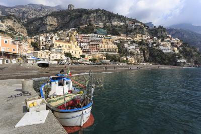 Fishing Boat at Quayside and Positano Town, Costiera Amalfitana (Amalfi Coast), Campania, Italy-Eleanor Scriven-Photographic Print